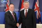 Canadian Prime Minister Stephen Harper and Prime Minister John Key. Photo / AP