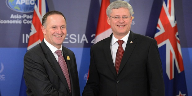 Canadian Prime Minister Stephen Harper and Prime Minister John Key. Photo / AP