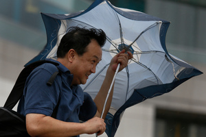 A tourist from mainland China braves strong wind near the waterfront in Hong Kong. Photo / AP