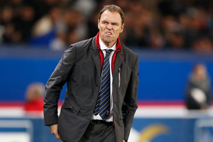 Australia's head coach Holger Osieck grimaces during their international soccer friendly match between France and Australia at the Parc Des Princes stadium in Paris. Photo / AP