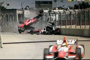 Dario Franchitti's terrible crash IndyCar 2013 Grand Prix of Houston.