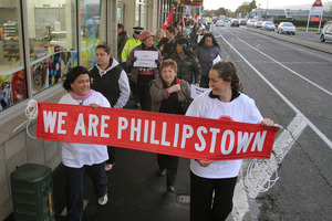 Protests were held against the Phillipstown School closure, but a legal battle has given the staff, students and families new hope. File photo / Geoff Sloan