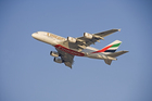 An Emirates A380 Airbus jumbo liner.