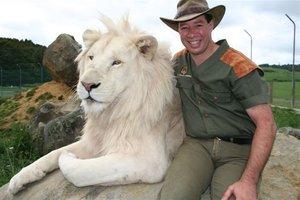 Lion Man Craig Busch at Kingdom of Zion wildlife park.