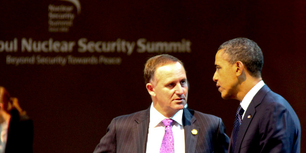 "John Key, pictured here with Barack Obama in Seoul in March, was thanked by the US President for ""overseeing"" the TPP trade talk in Bali."