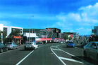 An artist's impression of the proposed Bunnings Warehouse Grey Lynn, looking west down Great North Rd with the King St corner at centre.