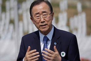 "Secretary General of the United Nations Ban Ki-moon added that roadside bombs ""have detonated in close proximity"" to the inspectors. Photo / AP"