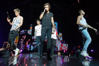 Niall Horan, Zayn Malik, Harry Styles, Louis Tomlinson and Liam Payne of One Direction perform for their fans in Christchurch. Photo / Martin Hunter
