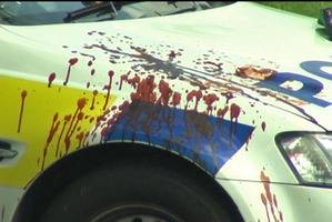 The officer's police car was left splattered with blood.