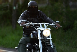 Rival bike club members from the Rebels Bikie gang arrive for a meeting of the NSW Bikers Council. Photo / Getty Images