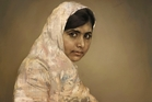 A painting by Jonathan Yeo showing Malala Yousafzai studying. Photo / AP