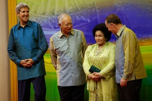 John Key (right) with (from left) US Secretary of State John Kerry, Malaysian Prime Minister Najib Razak and Mr Razak's wife, Rosmah Mansor. Photo / AP