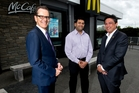 Professor Ted Zorn from Massey University (left), Ajit Mandlekar, restaurant manager and Patrick Wilson, MD of McDonald's NZ.