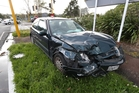 The headfirst collision happened in Great North Rd, in central Auckland.  Photo / Jason Oxenham