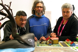 Rawene students Rawiri Pepere, James Stirling and Dawn Harris are among those worried about the future of applied arts courses in the Hokianga town. Photo / Leona Kenworthy