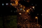 About 500,000 turned out for Rabbi Yosef's funeral procession, making it one of Israel's largest. Photo / AP