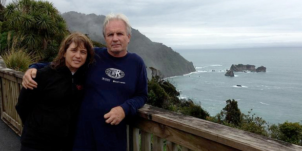 Michael Hayes, the father of Canadian tourist Connor Hayes, and his wife Lorraine Tetreault at Knights Point on the West Coast. Photo / Otago Daily Times
