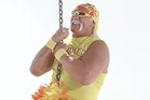 Hulk Hogan rides a wrecking ball in a new video advertising his web hosting company, Hostamania. Photo / YouTube