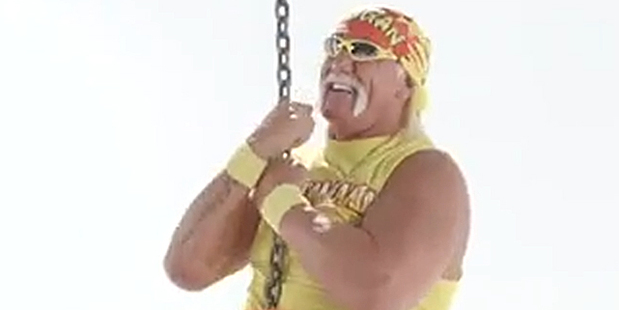 Loading Hulk Hogan rides a wrecking ball in a new video advertising his web hosting company, Hostamania. Photo / YouTube