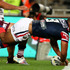 Michael Jennings dots down for the Roosters. Photo / Getty Images