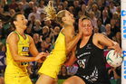 Laura Geitz contests for the ball against Catherine Latu. Photo / Getty Images