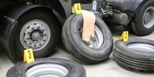 Tires which contained methamphetamine with a street value of AUS$200 million. Photo / AFP