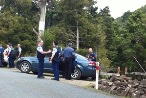 Police at the scene on Whananaki North Road.