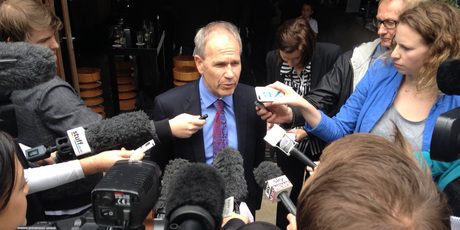 Len Brown talks with media after winning.