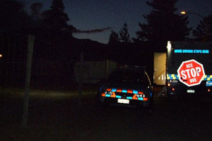 The scene of a police investigation last night after a body was discovered in a Cromwell caravan.  Photo / ODT