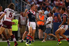Shaun Kenny-Dowall of the Roosters celebrates his try during the 2013 NRL Grand Final match. Photo / Getty Images