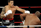 Sonny Bill Williams claimed the NZ heavyweight title with a win over Clarence Tillman III in February clash year. Photo / Christine Cornege
