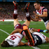 David Williams of the Sea Eagles is tackled into touch. Photo / Getty Images