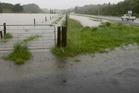 Surface flooding on SH3 just outside Wanganui. Photo/Bevan Conley