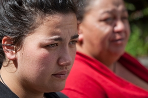 CLOSURE: Melani Kimura (left), daughter of murdered businessman Gary Kimura with her aunt Polly Kimura outside the Rotorua court. PHOTO/ANDREW WARNER 181013AW04BOP