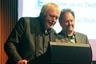 Geoff Murphy (left), Utu Redux director, and Bill Gosden, 2013 New Zealand International Film Festival director, at the Century Theatre, Napier. Photo / Warren Buckland