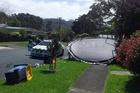 A trampoline blown over in Beach Haven. Photo / Supplied