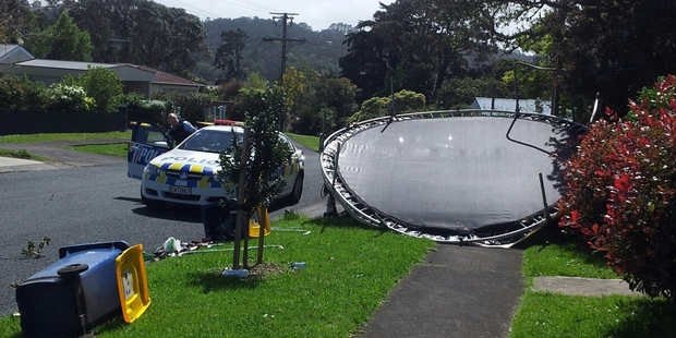 This trampoline was sent flying in Beach Haven.