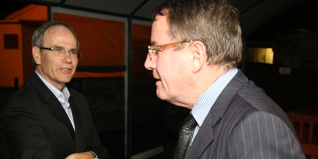 Len Brown (left) beat John Banks to become the first mayor of the Super City. Photo / Greg Bowker