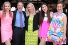 Len Brown celebrating his re-election on Saturday with his wife Shan Inglis and daughters Sam Colgan, Olivia Brown and Victoria Brown. Photo / APN