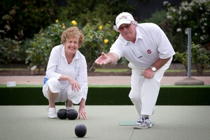 Peter Blick and his wife Helen enjoy a rollup at the newly named Kohimarama Bowling Club. Photo / Sarah Ivey