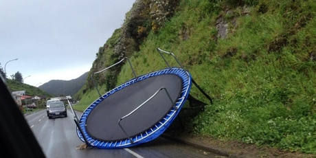 On Ohiro Rd a trampoline awaits the next gust. Photo / Peter O'Carroll