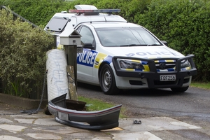 A police pursuit in Rotorua ended up with a bumper being torn off the car as the driver fled. Photo / Stephen Parker