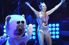Miley Cyrus performs at the MTV Video Music Awards alongside one of her dancing bears. Photo / AP