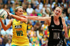 Renae Hallinan of Australia and Shannon Francois of New Zealand contest possession during game five of the Constellation Cup series. Photo / Getty Images.