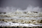 High tide waves approach the Bay of Bengal coast near Gopalpur beach in Ganjam district. Photo / AP