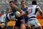 Jayden Spence of Otago attempts to bust the Auckland defence during the round nine ITM Cup match between Otago and Auckland. Photo / Getty Images.