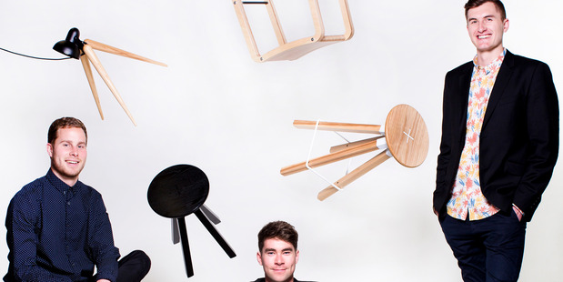 Furniture designers James McNab, Sam Griffin and Daniel Kamp from Y.S Collective. Photo / Babiche Martens.