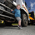 Jackson Coombes, 3, is impressed with the size of the fire truck. Photo / George Novak