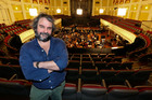 Director Sir Peter Jackson poses in front of the New Zealand Symphony Orchestra, who are currently recording the soundtrack for 'The Hobbit: The Desolation of Smaug'. Photo / Hagen Hopkins