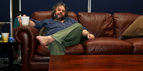 Sir Peter Jackson relaxes with tea and symphony in Wellington's Ilot Theatre. Photo / Hagen Hopkins